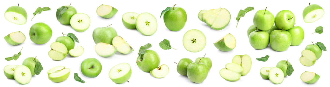 Fresh ripe green apple on white background
