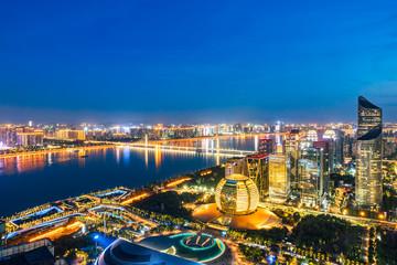 Nightscape of Qianjiang New Town, Hangzhou, Zhejiang, China Fototapete