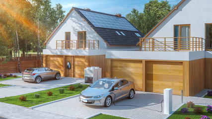 electric car parked in front of home modern low energy suburban house 3d rendering