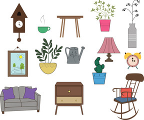 A set of furniture and interior items. Things necessary for a cozy home. A sofa, a desk lamp, a rocking chair, indoor plants, a painting and others.