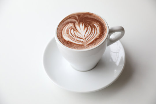 hot chocolate in white tone room