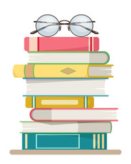 Stack of books with glasses on the top on a white background. flat design style.