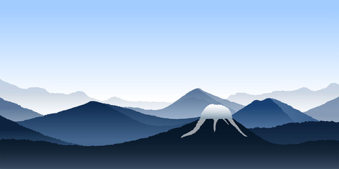 Fototapete - Vector realistic landscape. Mountains and volcano. Minimalistic concept. Abstract wallpaper. Blue background. Template for web design. Silhouettes of slopes and hills