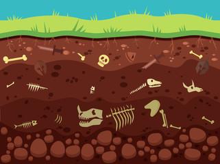Archeology, historic artifacts under ground vector illustration