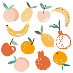 Set with hand drawn colorful doodle fruits