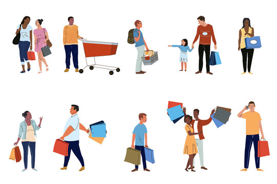 Shoppers flat vector characters set. Buyers with purchases, consumers buying products pack isolated on white background. Cartoon people holding paper shopping bags illustrations