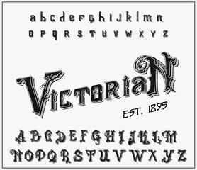 Victorian alphabet in ancient style. Antique old Font. Vintage typeface in black colors, editable and layered. Hand drawn Vector modern letters.