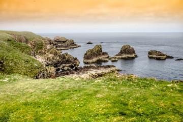 Cliffs and the sea near Cruden Bay, Peterhead, Aberdeenshire, Scotland, UK
