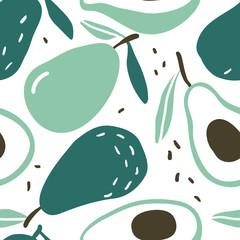 Doodle avocado vector seamless pattern