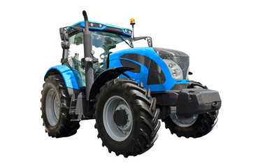 Big blue agricultural tractor isolated on a white background Fotomurales