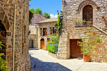 Fototapete - Beautiful stone buildings of the flower filled old town of Assisi, Italy