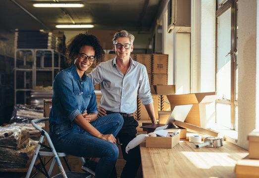 Successful online shop business partners