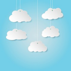 Foto op Plexiglas Hemel Paper clouds hanging on a rope. Mock up template for your design. Cloud shaped badge, tag, banner, label and bookmark with space for text.