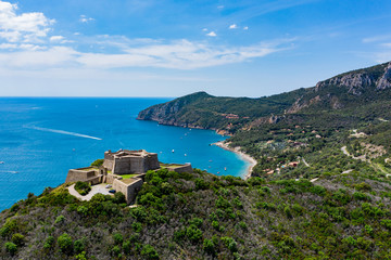 Star fort on the hill above the cliffs of Monte Argentario, Tuscany.