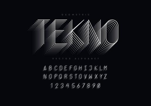Thin geometric font design. Eps10 vector.
