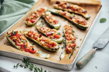Food: baked stuffed zucchini