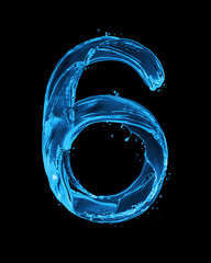 Fototapete - Number 6 made with water splashes on a black background