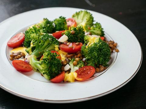 Lentil Broccoli Salad with a Turmeric Dressing