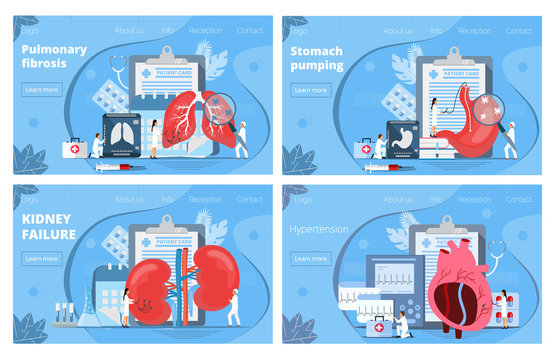 Medicine landing pages. Concept vector of pyelonephritis, stomach, lungs, heart diseases, hypertension. Tiny doctors treat internal organs, making ultrasound, x ray research. Trendy healthcare flyers.