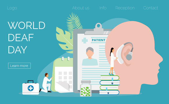 World Deaf Day in  last Sunday of September concept. Rally, seminar and various deaf awareness campaign design vector for app, landing page, website. Tiny doctors give hearing aid.