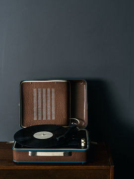Brown vintage vinyl player