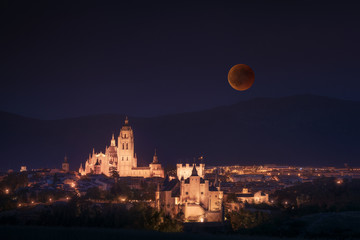 Segovia with Blood Moon