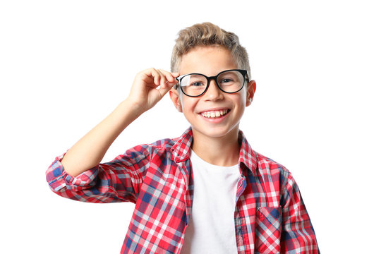Boy in glasses and shirt isolated on white background