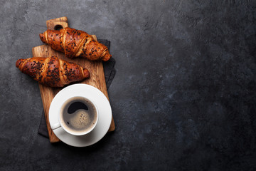 Coffee and croissant Wall mural