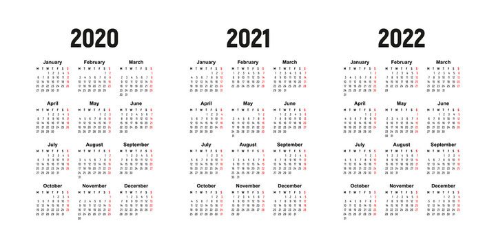 calendar 2020, 2021 and 2022, week starts on Monday, basic business template. vector illustration