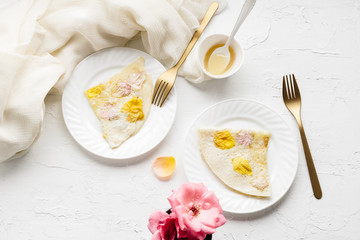 Rose Petal and Honey Crepes
