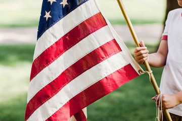 young boy holding an American flag outdoors in the summer