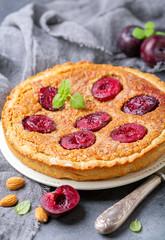 Plum pie with almond cream.