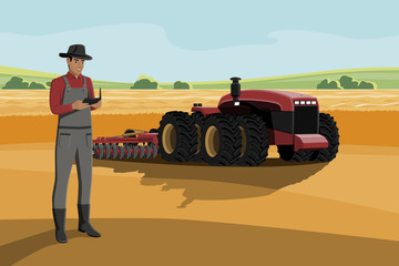 Wall Mural - Black african american farmer with a tablet computer controls a autonomous tractor on a smart farm. Vector illustration EPS 10