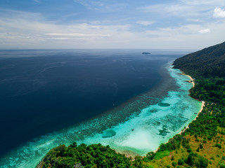 Aerial view of tropic sea, beach and nature