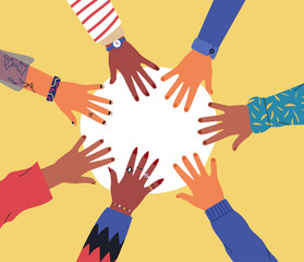 Wall Mural - Diverse young people hands on isolated background. Teenager hand group round celebration or friend community concept. Flat cartoon illustration of men and women arms.