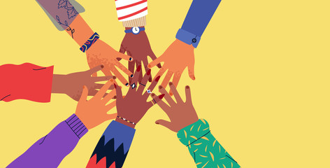 Wall Mural - Diverse young people hands on isolated background. Teenager hand group high five celebration or friend community concept. Flat cartoon illustration of men and women arms.
