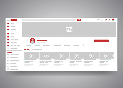 Web browser youtube video channel user interface page with search field and video list. Video player web site interface mock up. Vector web page template