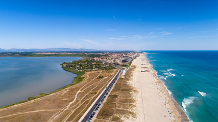 Aerial panorama of Canet en Roussilon in the Pyrenees Orientales