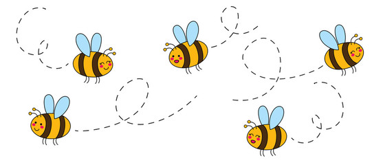 Cut set of cartoon bees hand drawn childish. Vector illustration.