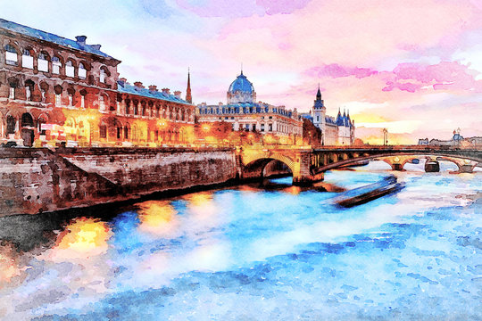 Beautiful Digital Watercolor Painting of the Seine river at sunset in Paris, France.