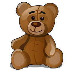 Soft toy teddy bear isolated on white background. Vector cartoon close-up illustration.