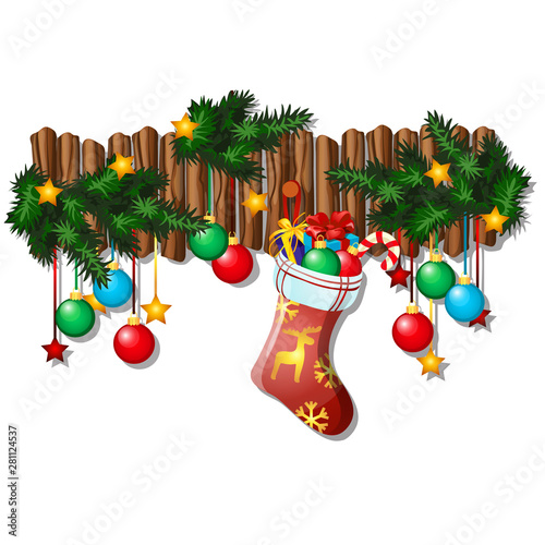 Wall Christmas Decor With Dangling Baubles Fir Branches