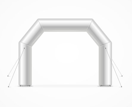 Realistic Detailed 3d Blank Square Inflatable Archway Template Mockup. Vector