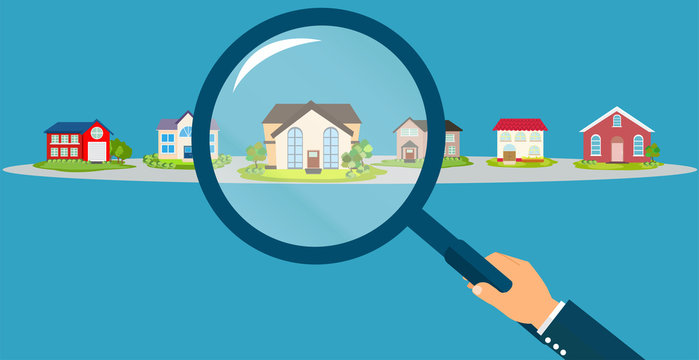Vector of a businessman hand holding magnifying glass searching for the best real estate house deal