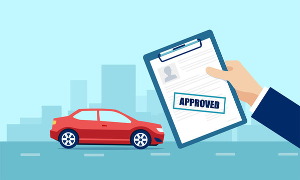 Vector of a business man holding approved application for car loan