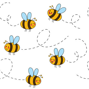 Cute seamless pattern with bees. Hand Drawn vector illustration. Wrapping paper pattern. Background with vector cartoon elements.