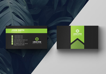 Green and Charcoal Business Card Layout