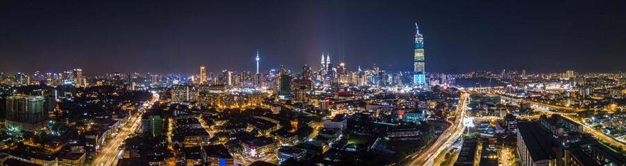 Poster Kuala Lumpur Beautiful City of Kuala Lumpur panorama at night Malaysia