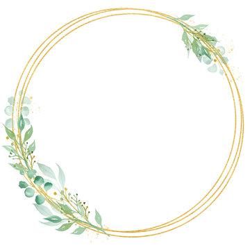 Decorative circle shaped frame watercolor raster illustration
