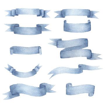Beautiful cyan blue ribbon watercolour raster illustrations set